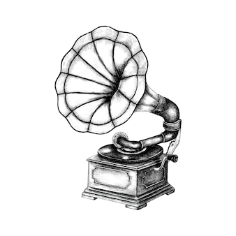 Dibujado a mano fonógrafo clásico