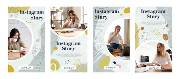 Dibujado a mano formas abstractas historias de instagram con foto