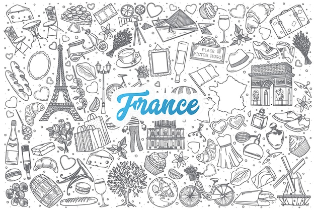 Dibujado a mano francia doodle establece fondo con letras azules