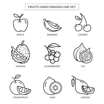 Dibujado a mano frutas con conjunto de arte lineal.