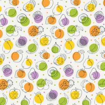 Dibujado a mano frutas de patrones sin fisuras
