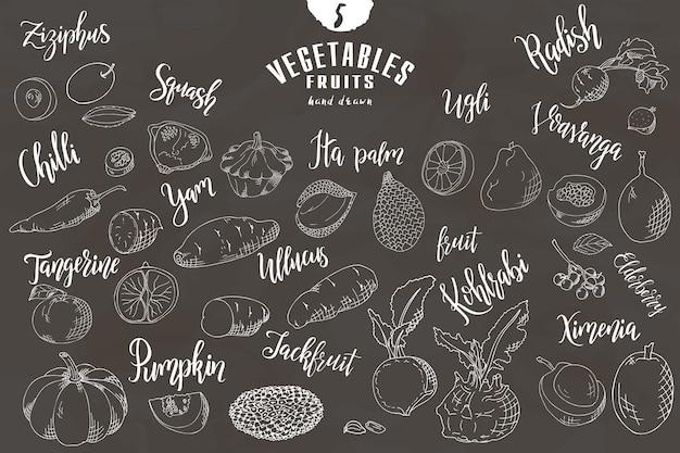 Dibujado a mano frutas y verduras