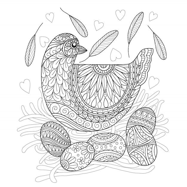 Dibujado a mano gallina y huevo