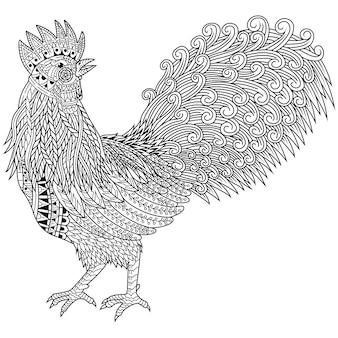 Dibujado a mano de gallo en estilo zentangle