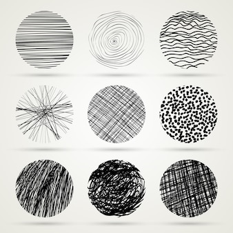 Dibujado a mano garabato círculos plantilla monocromo ilustración creativa vector