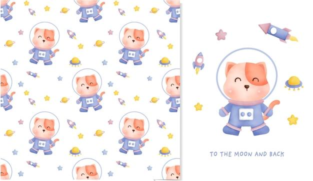 Dibujado a mano gatito en la galaxia de patrones sin fisuras y tarjeta de felicitación para álbumes de recortes, papel de regalo, invitaciones.