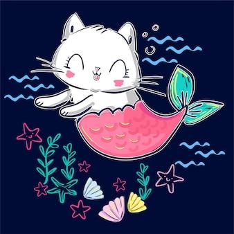 Dibujado a mano gatito sirena y concha. gato lindo de fantasía