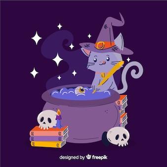 Dibujado a mano gato bruja de halloween
