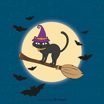 Dibujado a mano gato de halloween en escoba