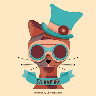 Dibujado a mano del gato de steampunk
