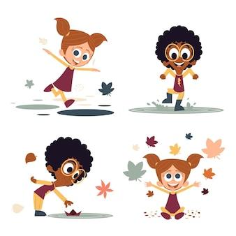 Dibujado a mano gente ilustrada en otoño