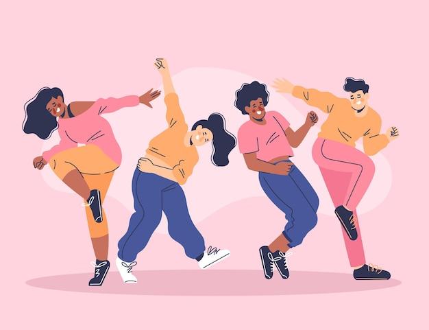 Dibujado a mano gente plana bailando