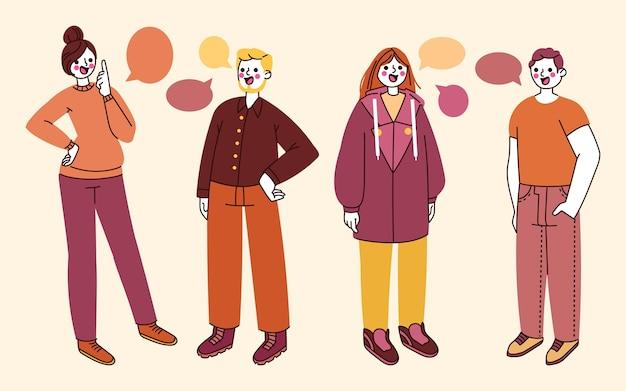 Dibujado a mano gente plana hablando