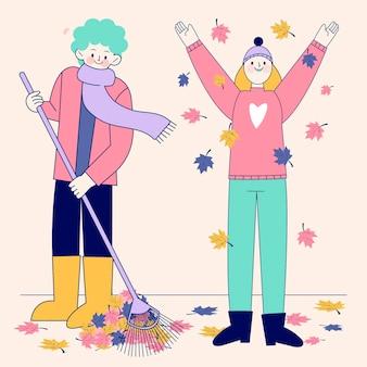 Dibujado a mano gente plana en otoño