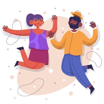 Dibujado a mano gente saltando ilustración