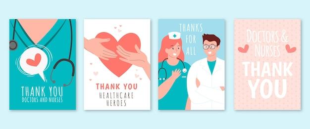 Dibujado a mano gracias colección de postales de médicos y enfermeras