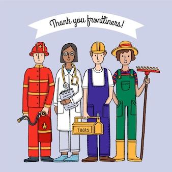 Dibujado a mano gracias ilustración de trabajadores esenciales