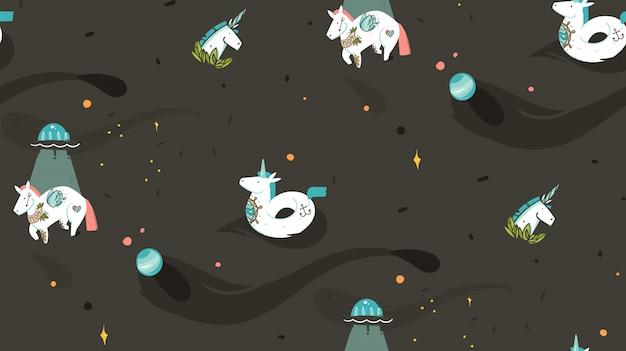 Dibujado a mano gráfico abstracto creativo de dibujos animados ilustración de patrones sin fisuras con unicornios cosmonauta con tatuaje de la vieja escuela, flotador de unicornio y nave espacial ovni en cosmos aislado sobre fondo negro