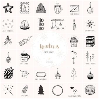 Dibujado a mano grande navidad y año nuevo conjunto de vectores.