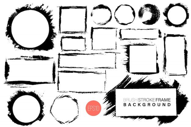 Dibujado a mano grunge marcos grandes formas gran conjunto.