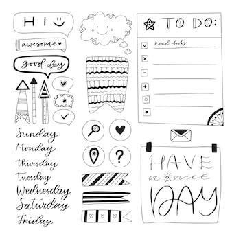 Dibujado a mano para hacer la lista, cinta adhesiva y otros elementos del cuaderno