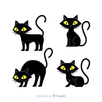 Dibujado a mano halloween back cat