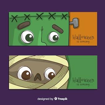 Dibujado a mano de halloween banners caras de monstruo de primer plano