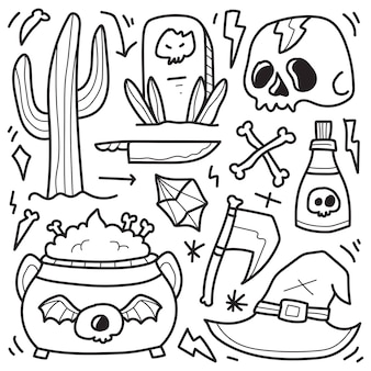 Dibujado a mano halloween doodle dibujos animados diseño para colorear
