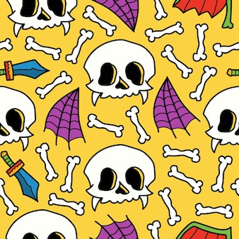 Dibujado a mano halloween doodle dibujos animados diseño de patrones sin fisuras