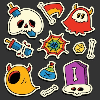 Dibujado a mano halloween doodle diseño de etiqueta de dibujos animados