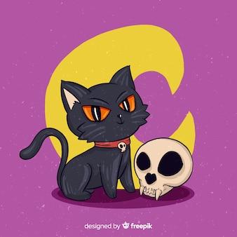 Dibujado a mano halloween shakespearian cat