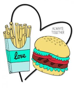 Dibujado a mano hamburguesa diseño vectorial para la impresión de la camiseta