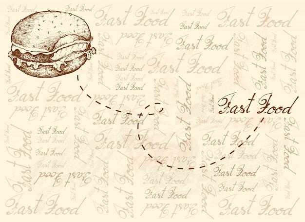 Dibujado a mano de hamburguesa sobre fondo marrón