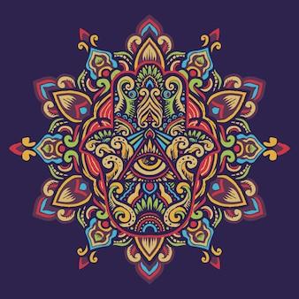Dibujado a mano hamsa adornado mano de fátima