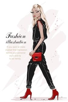 Dibujado a mano hermosa chica de moda con colores negro y rojo