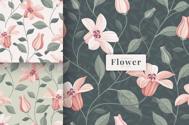 Dibujado a mano hermosa colección de patrones florales en color pastel
