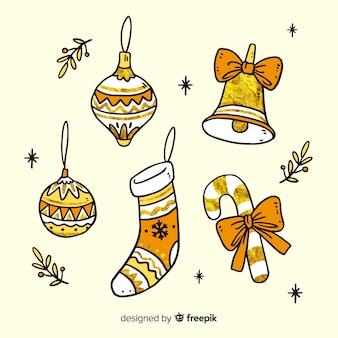 Dibujado a mano hermosa decoración navideña