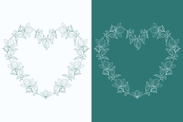 Dibujado a mano hermosa ilustración de marco de corazón floral