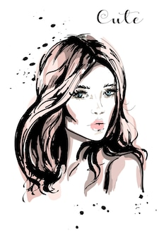 Dibujado a mano hermosa joven con cabello largo