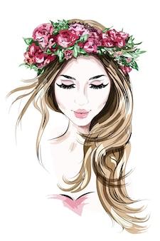 Dibujado a mano hermosa joven en corona de flores