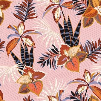 Dibujado a mano hermosa plantas tropicales de patrones sin fisuras