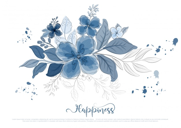 Dibujado a mano hermosas flores azules florecen con línea negra