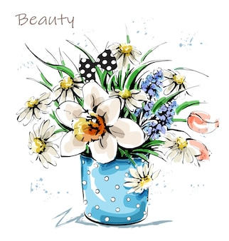 Dibujado a mano hermosas flores en florero. ramo de flores lindo. bosquejo.