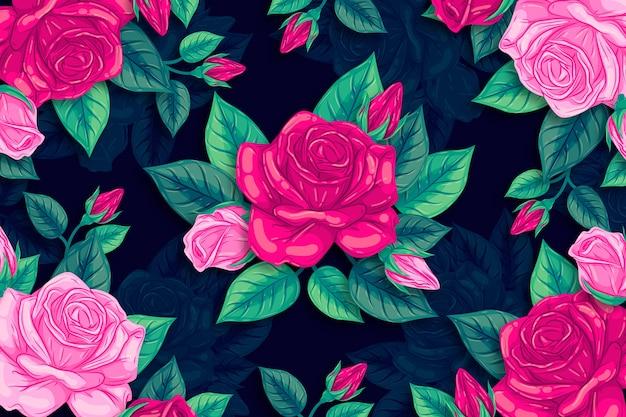Dibujado a mano hermosas flores rosas naturales