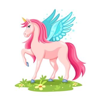 Dibujado a mano hermoso unicornio lindo con alas azules. ilustración animal aislado sobre fondo blanco