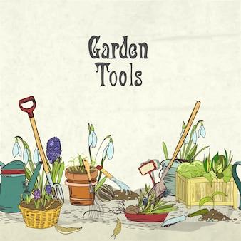 Dibujado a mano herramientas de jardinería portada del álbum