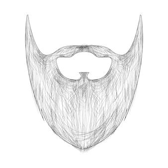 Dibujado a mano hipster barba y bigote elemento ilustración vectorial