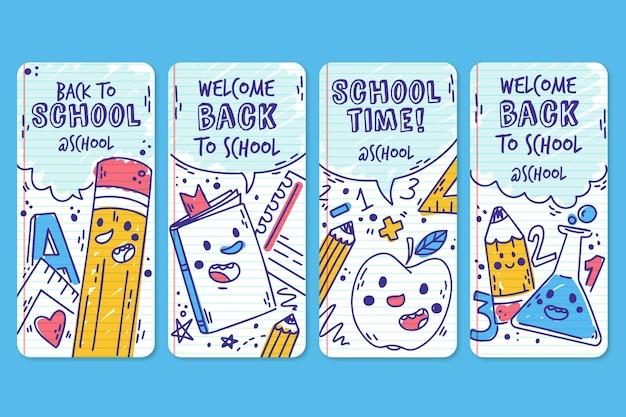 Dibujado a mano historias de instagram de regreso a la escuela