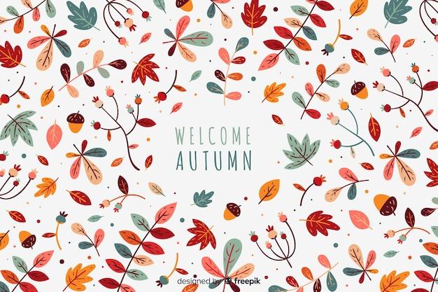 Dibujado a mano las hojas de otoño de fondo