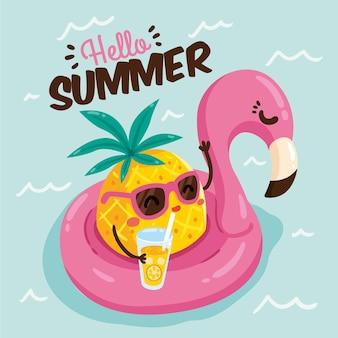 Dibujado a mano hola concepto de verano
